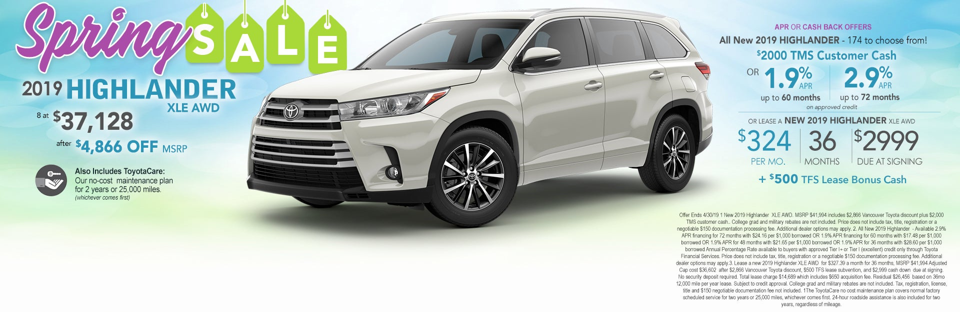 2019 Toyota Highlander Xle At Vancouver