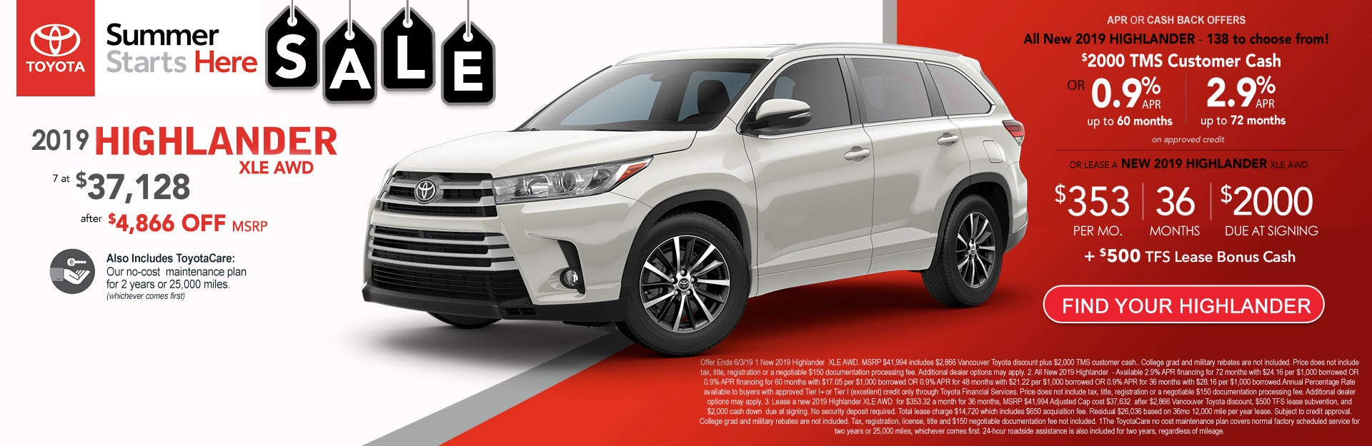 2019 Toyota Highlander Xle Awd At Vancouver